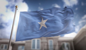 Somalia Flag 3D Rendering on Blue Sky Building Background. Digital Art Royalty Free Stock Photo