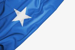 Somalia flag of fabric with copyspace for your text on white background. Middle africa african banner best blue capital colorful competition country ensign free stock illustration