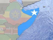 Somalia with flag on globe Stock Photography
