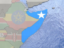 Somalia with flag on globe Stock Photo