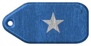 Somalia flag. Painted on wooden tag Stock Photo