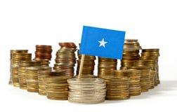 Somalia flag with stack of money coins. Somalia flag waving with stack of money coins Royalty Free Stock Photos