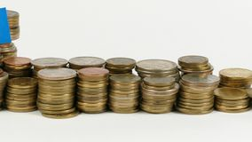 Somalia flag with stack of money coins. Somalia flag waving with stack of money coins stock video