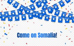 Somalia girlandy flaga z confetti na przejrzystym tle, zrozumienie chorągiewka dla świętowanie szablonu sztandaru, Wektorowa ilus royalty ilustracja