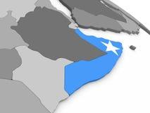 Somalia on globe with flag Royalty Free Stock Photo