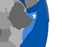 Somalia on globe with flag Stock Photo