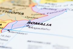 Somalia on a map. Close up of the country of Somalia on a World map stock images
