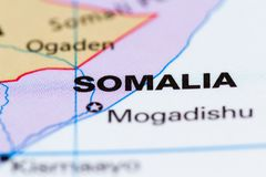 Somalia on a map. Close up of the country of Somalia on a World map stock photography