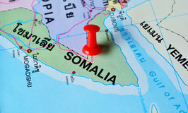 Somalia map. Macro shot of somalia map with push pin royalty free stock photos