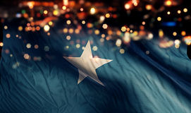 Somalia National Flag Light Night Bokeh Abstract Background Stock Photography