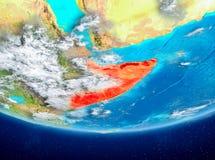 Somalia på jordklotet från utrymme Arkivfoto