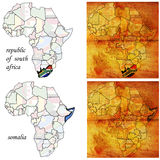 Somalia&rsa on africa map Royalty Free Stock Image