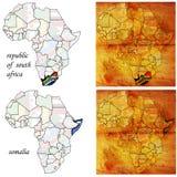 Somalia&rsa on africa map. Rsa&somalia on two kindes of africa map royalty free illustration