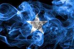 Somalia smoke flag on a black background.  stock photo