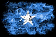 Somalia smoke flag on a black background.  royalty free stock photography