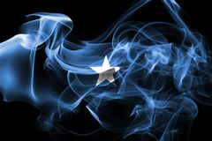 Somalia smoke flag. Isolated on a black background Royalty Free Stock Photography
