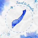 Somalia watercolor map in blue colors. Travel to Somalia poster with airplane trace and handpainted watercolor Somalia map on crumpled paper. Vector Royalty Free Stock Image