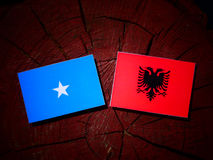 Somalian flag with Albanian flag on a tree stump royalty free stock images