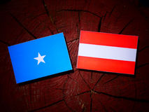 Somalian flag with Austrian flag on a tree stump. Somalian flag with Austrian flag on a tree stump stock images
