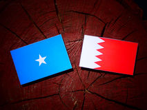 Somalian flag with Bahraini flag on a tree stump. Somalian flag with Bahraini flag on a tree stump Stock Images