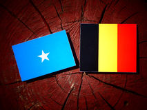 Somalian flag with Belgian flag on a tree stump isolated. Somalian flag with Belgian flag on a tree stump stock photos