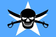 Pirate flag combined with Somalian flag. Somalian flag combined with the black pirate image of Jolly Roger with cutlasses Stock Photo