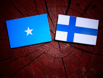 Somalian flag with Finnish flag on a tree stump isolated. Somalian flag with Finnish flag on a tree stump Stock Photo