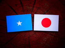Somalian flag with Japanese flag on a tree stump isolated. Somalian flag with Japanese flag on a tree stump Royalty Free Stock Photography