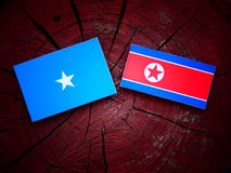 Somalian flag with North Korean flag on a tree stump Royalty Free Stock Images