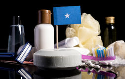 Somalian flag in the soap with all the products for the people h. Ygiene Royalty Free Stock Photography