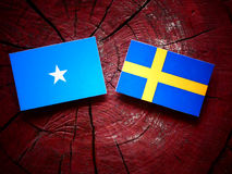 Somalian flag with Swedish flag on a tree stump stock image