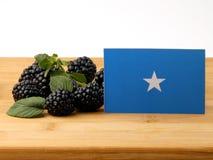 Somalian flaga na drewnianym panelu z czernicami odizolowywać na a obraz royalty free