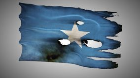 Somalian perforated, burned, grunge waving flag loop alpha stock video footage