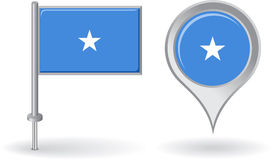 Somalian pin icon and map pointer flag. Vector Stock Photography