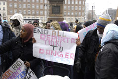 SOMALIES STAGED PROTEST AGAINST DANISH REFUGEES LAWS Royalty Free Stock Photo