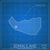 Somaliland blueprint map template with capital. vector illustration