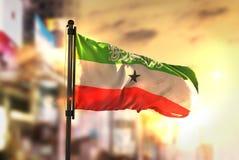 Somaliland Flag Against City Blurred Background At Sunrise Backl stock images