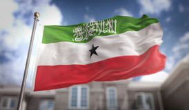 Somaliland Flag 3D Rendering on Blue Sky Building Background Royalty Free Stock Photo