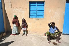 Somalis in the streets of the city of Borama. Royalty Free Stock Image