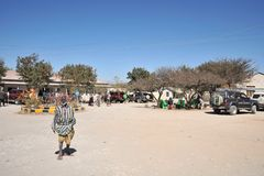 Somalis in the streets of the city of Borama. Royalty Free Stock Photos