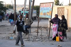 Somalis in the streets of the city of Hargeysa. Royalty Free Stock Images