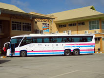 Sombattour. Super longer bus in Thailand. 15 meter. Bus route Bangkok and Chiangmai. The ticket of VIP bus include super wide seat and width space between the Stock Images