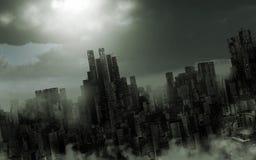 Somber apocalyptisch landschap royalty-vrije illustratie