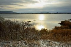 Somber morning. This is cold morning in Caucasus nature in autumn Royalty Free Stock Photo