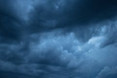 Somber sky. Beautiful cloudy sky before the thunderstorm Stock Images