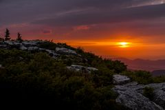 Sunrise from Bear Rocks - Dolly Sods, West Virginia. A somber sunrise along the Allegheny Front from Bear Rocks within the Dolly Sods Wilderness in the Royalty Free Stock Photography