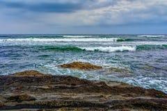 Sombere dag op de kust van Chiba, Japan stock afbeeldingen