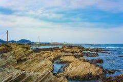 Sombere dag op de kust van Chiba, Japan royalty-vrije stock foto's