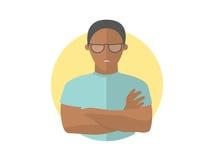 Sombere en sombere knappe zwarte mens in glazen, beledigde kerel vector illustratie