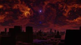 Sombere stad van vreemdelingen en UFO royalty-vrije illustratie